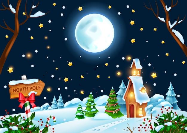 クリスマス冬の夜の風景ベクトル休日クリスマスの背景サンタクロースの家満月