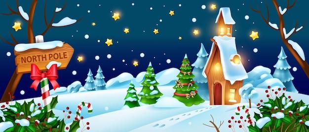 クリスマス冬の夜の風景ベクトルサンタクロースの家のイラストクリスマス休日の森の景色