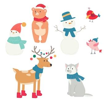 クリスマス冬北の動物鹿クマオオカミ鳥雪だるま新年の帽子とスカーフ