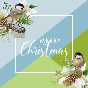 Christmas winter poinsettia and birds flower banner