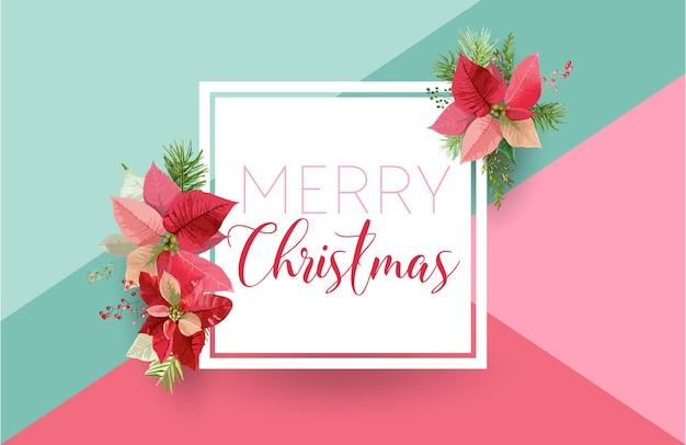 Christmas winter poinsettia flower banner