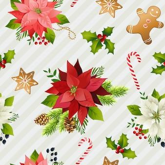 Christmas winter poinsettia flowers seamless background