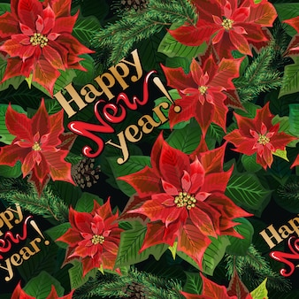 Christmas winter poinsettia flowers seamless background