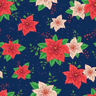 Christmas winter poinsettia flowers seamless pattern