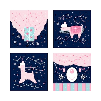 Christmas winter postcard set - cute pink llama or alpaca with x-mas gift, lies on a spruce branch on dark night snowy background with snowflakes and stars. flat design cartoon vector illustration.