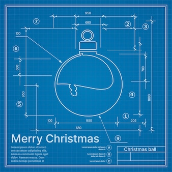 Christmas winter project decoration ball on new year blue sketch postcard