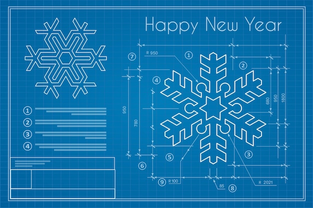 Christmas winter project snowflake on new year blue sketch postcard