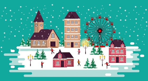 パノラマホイールと人々のクリスマス冬景色