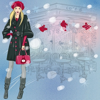 Christmas winter sketch of the beautiful fashionable girl near the parisian cafe with christmas decorations