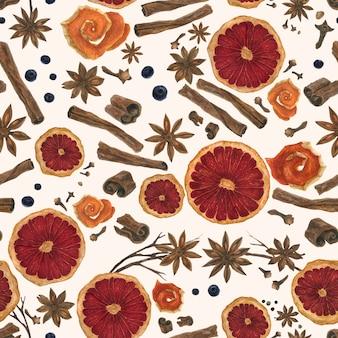 水彩のシームレスパターンのクリスマス冬のスパイス