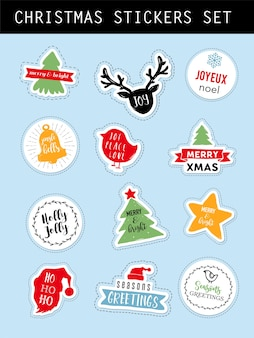 Christmas winter stickers set with lettering