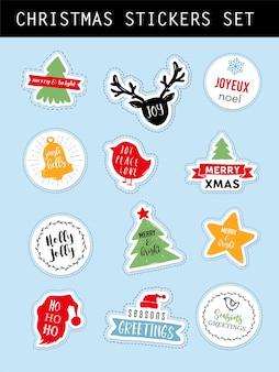 Рождественские зимние наклейки с буквами