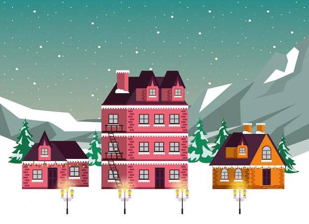 クリスマス冬ストリートシーンアイコン