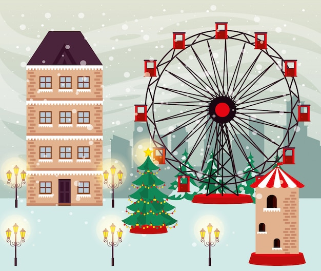 Christmas winter street scene with panoramic wheel