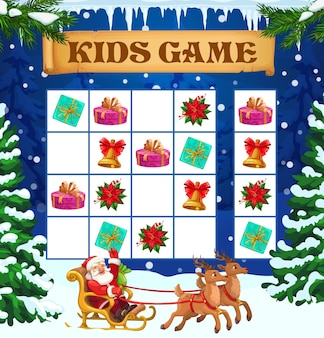 Christmas winter sudoku kids game or puzzle