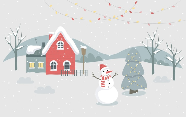 Рождественский зимний городок иллюстрации. праздничный характер и праздничное украшение. рождественская елка с традиционным декором, огнями и снеговиком. украшение рождественской открытки