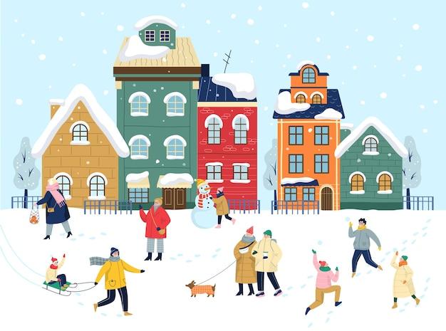 크리스마스 겨울 마을 그림. 축제 캐릭터와 휴일 장식. 사람들은 겨울에 밖에서 시간을 보냅니다. 추운 계절에는 아이스 링크에서 스케이트를 타고 눈사람을 만드세요.