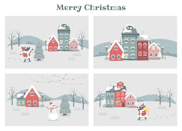 크리스마스 겨울 마을 그림을 설정합니다. 축제 캐릭터와 휴일 장식. 전통적인 장식, 조명 및 눈사람 크리스마스 트리. 크리스마스 카드 컬렉션