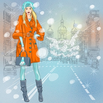 Christmas winter urban landscape, beautiful fashionable girl on the wide avenue with views of the church in st. petersburg, russia