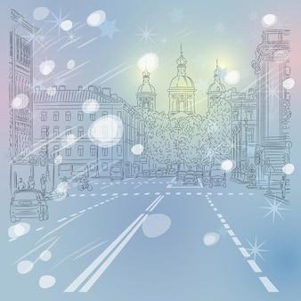 クリスマス冬の都市景観サンクトペテルブルクロシアの教会の景色を望む広い通り