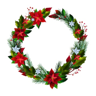 Рождественский зимний векторный праздничный венок с красными листьями пуансеттии, сосновыми ветками, звездами, ягодами