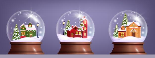 Рождественская зимняя векторная коллекция снежных шаров с украшенными деревенскими домами