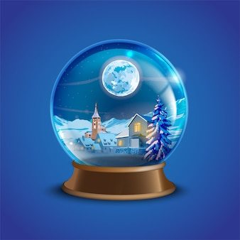 Christmas winter vector snow ball with decorated village houses, pine trees and moon