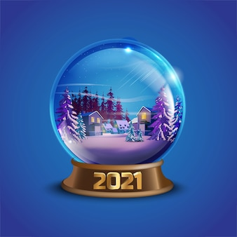 Christmas winter vector snow ball with decorated village houses