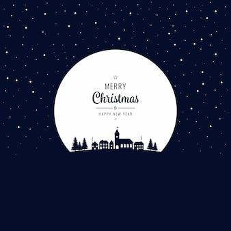 크리스마스 겨울 마을 밤 큰 달 배경 프리미엄 벡터