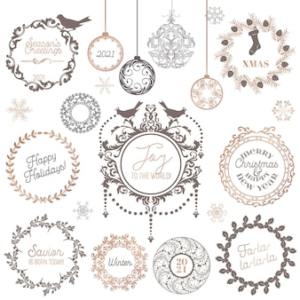 Christmas winter wreath, vintage calligraphic design elements and page decoration new year, swirls frames for invitation, decoration, scrapbook, holiday xmas card greetings. vector illustration set