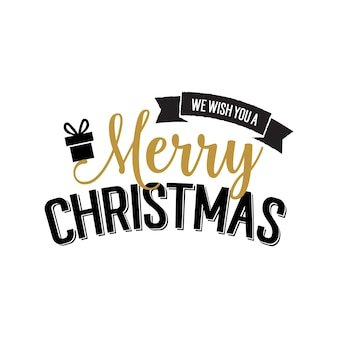 Christmas wish lettering with present
