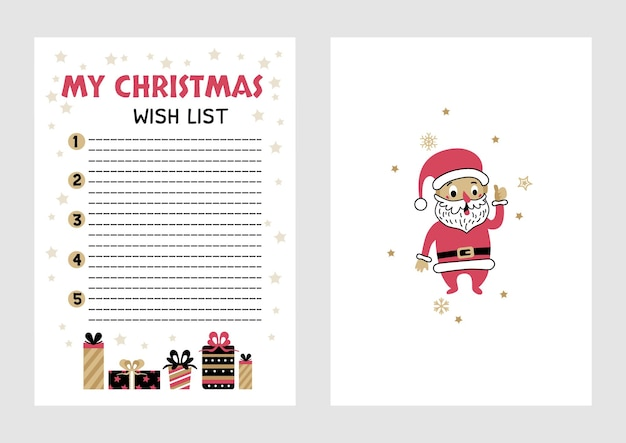 Christmas wish list design template. vector illustration. hand drawn decor from holiday background. printable design