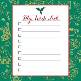 Christmas wish list on green background with christmas symbols. vector