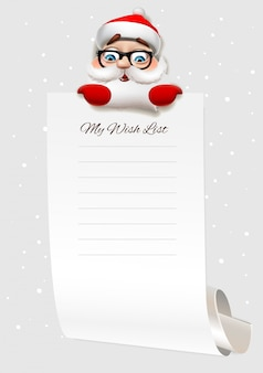 Christmas wish list, santa claus character holding big arch of paper. template for christmas wishes, illustration.