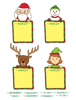 Christmas wish list with snowman and santa claus