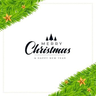 Рождественская открытка с украшением из листьев сосны