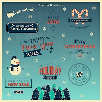 Christmas wishes labels collection