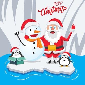 Christmas wishing santa in winter
