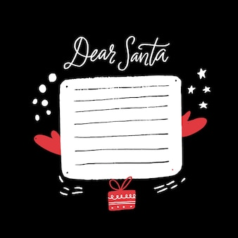 Christmas wishlst template dear santa letter gifts wish list with copy space
