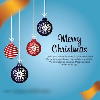 Рождество с шарами и золотыми лентами