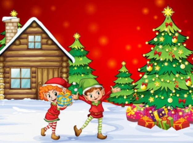 Christmas with childrens vector illustration