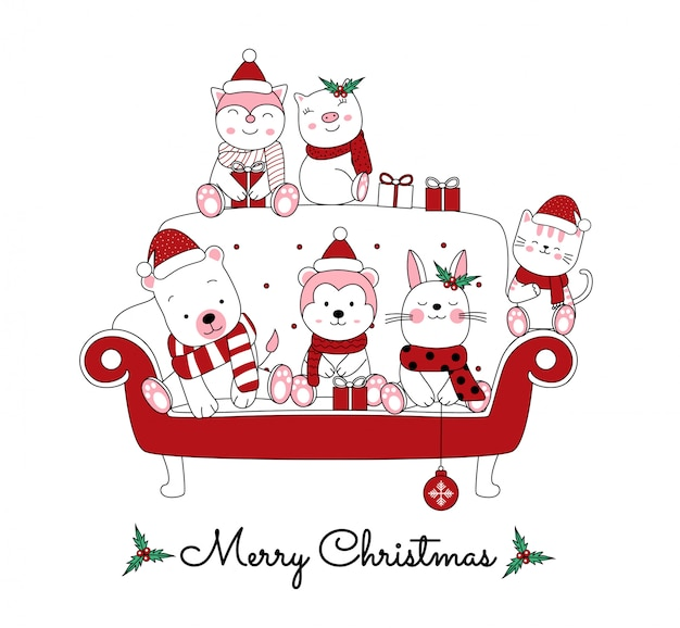 Christmas  with the cute animal cartoon in the sofa