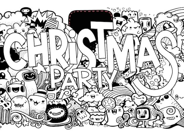 漫画のスタイルでかわいい面白いモンスターとクリスマス。