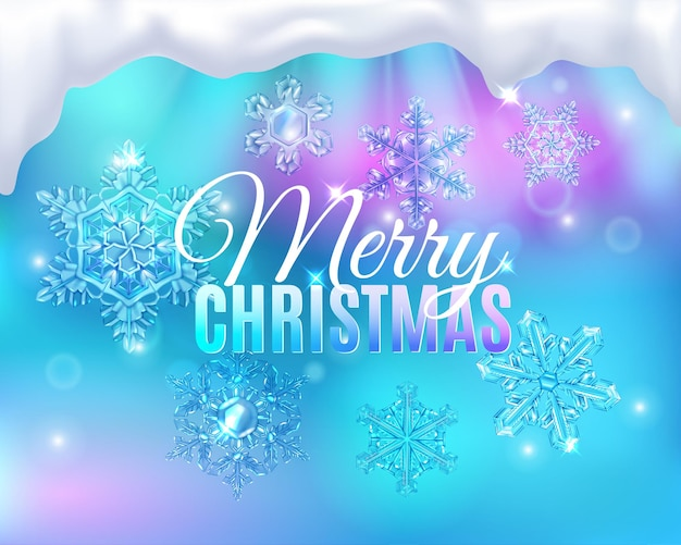 편집 가능한 텍스트와 안개가 자욱한 유리 스노우호크가 있는 크리스마스