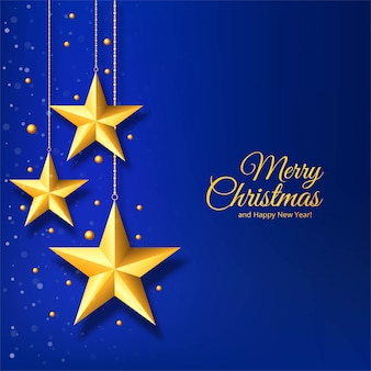 Christmas with golden star on blue background