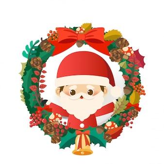크리스마스 반지에 작은 산타 클로스와 크리스마스.