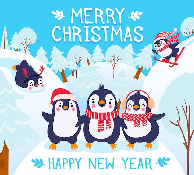 펭귄과 함께하는 크리스마스. 메리 크리스마스 벡터 배경 글자 겨울 숲에서 귀여운 행복 펭귄과 휴일 인사말. 따뜻한 옷 모자, 스카프, 귀마개를 입은 동물들. 스키 활동
