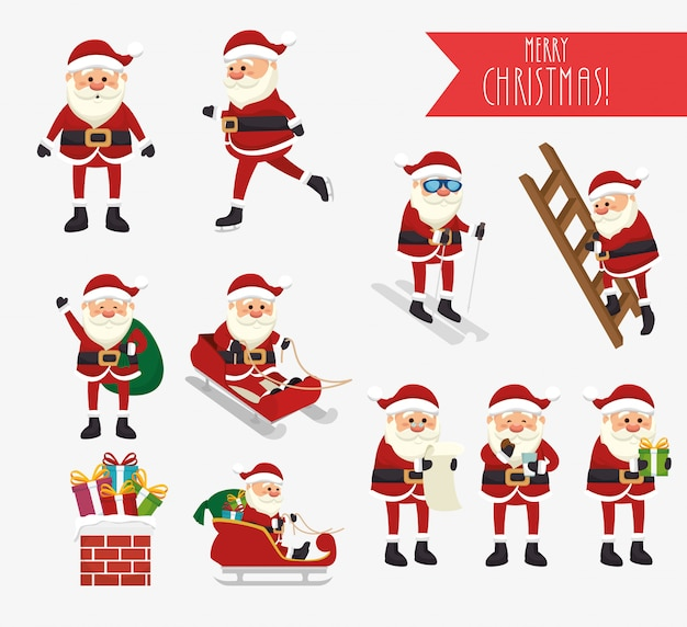 Christmas with santa claus and icons set