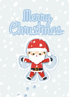 산타 클로스 눈 천사 만들기와 크리스마스입니다.