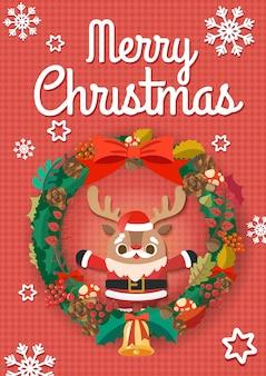 크리스마스에 산타 클로스 riendeer와 크리스마스 반지.